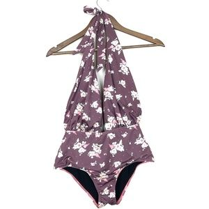 3/$30 Purple Floral Deep V-Neck Halter Swimsuit 37